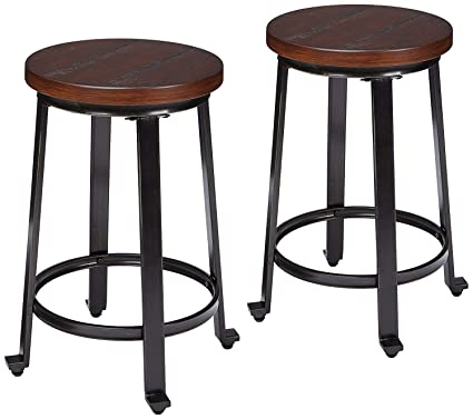 amazon com ashley furniture signature design challiman bar stool