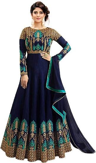 844ff83bcd HAVIYA Women's Phantom Silk Semi-stitched Gown with Dupatta (GW-02-rama