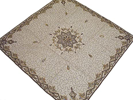 Ecru Net Fabric Handmade Beaded Indian Table Linens Topper Decorative  Wedding Tablecloth Overlay   40 Inch