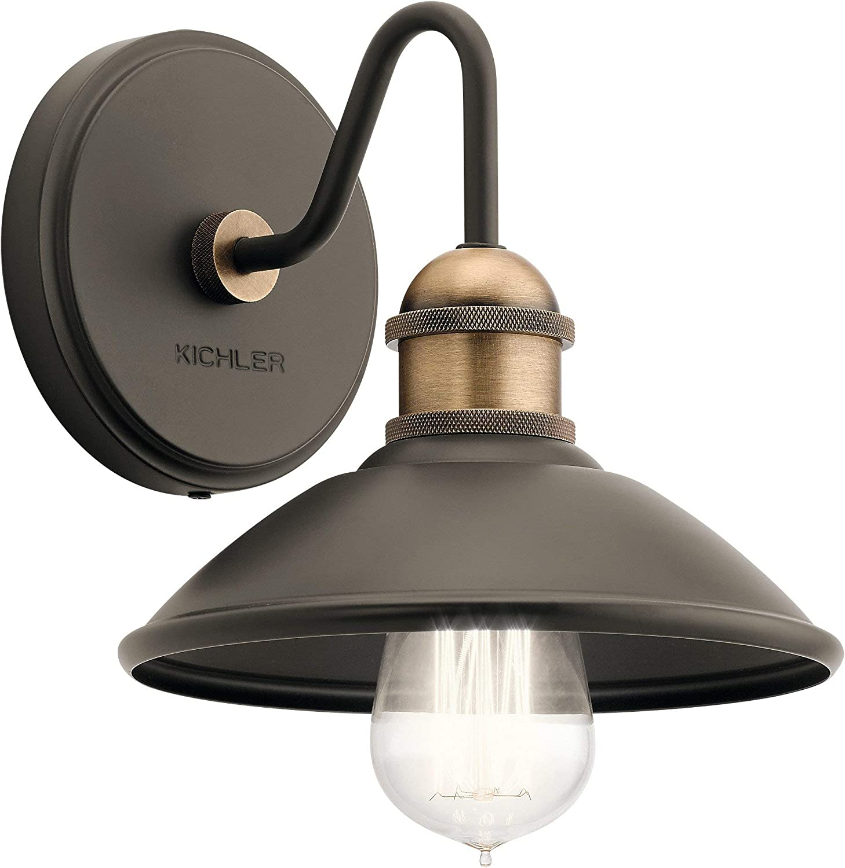 Kichler 45943OZ Clyde Wall Sconce, 1-Light 75 Watts, Olde Bronze