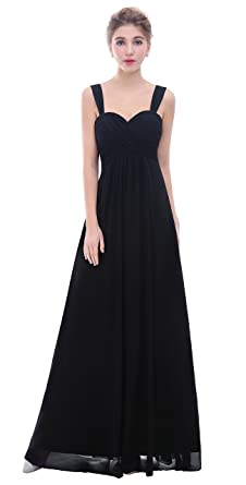 Esvor Straps Sweetheart Long Formal Prom Gowns Bridesmaid Dress Black 4