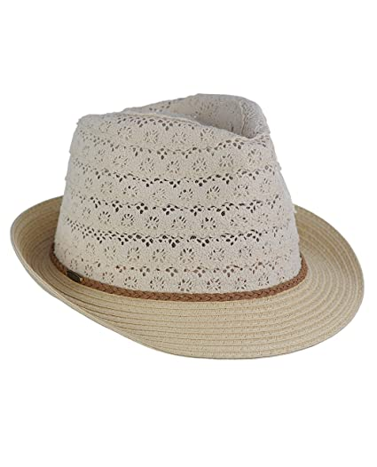 7201244ca C.C Children's Brown Braided Trim Spring Summer Cotton Lace Vented Fedora  Hat, Beige