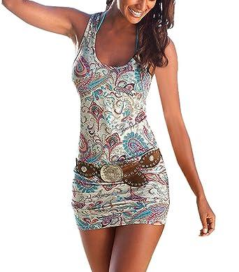 Vestido Playa Mujer Sin Mangas Cuello Redondo Floreadas Vestidos Cortos Verano Basic Moda Vintage Casual Slim Fit Paquete De Cadera Vestido Ski Nny Mini ...