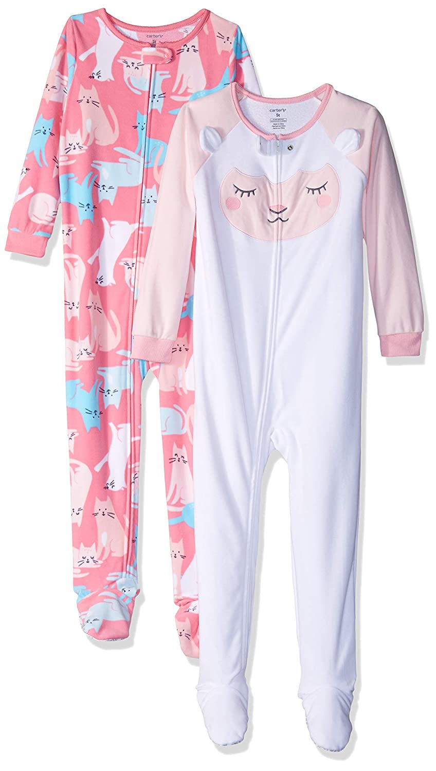 f33519591 Amazon.com: Carter's Baby and Toddler Girls' 2-Pack Fleece Footed Pajamas:  Clothing
