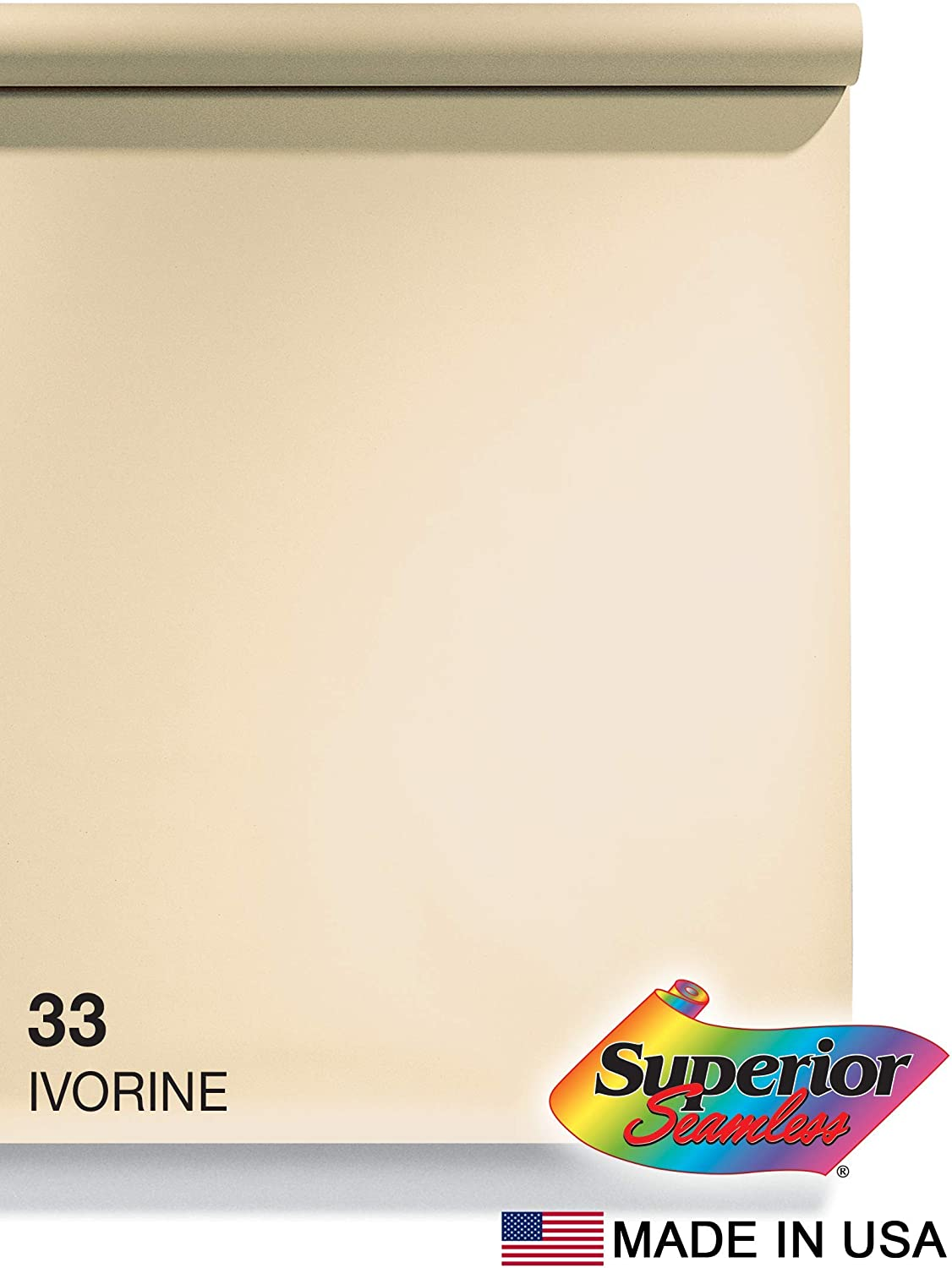 Superior Seamless Photography Background Paper, 33 Ivorine (53 inches Wide x 18 feet Long)