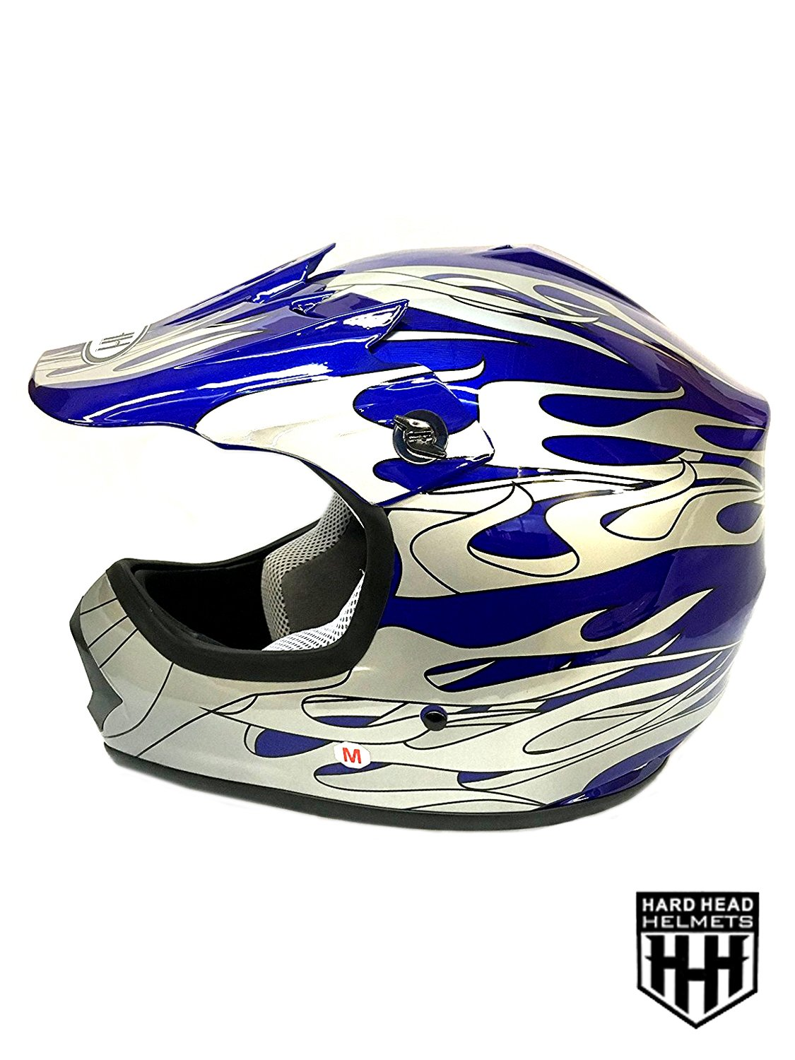 SmartDealsNow YOUTH DOT Helmet Blue Flame Color Dirt Bike Style Youth Model Large