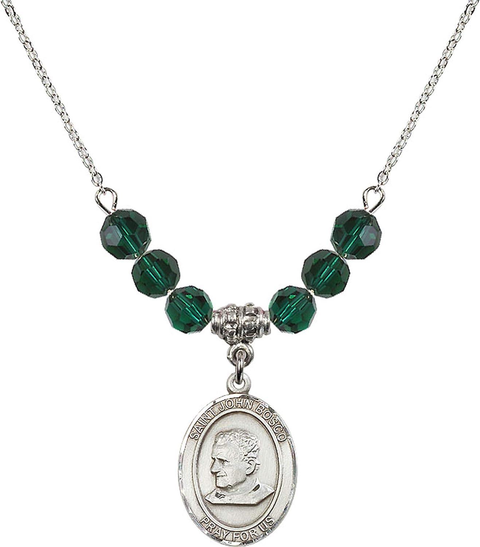 Bonyak Jewelry 18 Inch Rhodium Plated Necklace w// 6mm Green May Birth Month Stone Beads and Saint John Bosco Charm