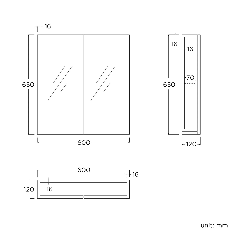 Harper Bathroom Mirror Cabinet Wall Storage Cupboard High Gloss Grey Furniture iBathUK