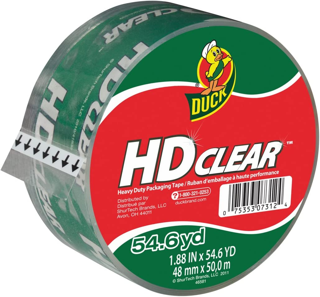 Duck HD Clear Heavy Duty Packing Tape Refill, 1.88 Inch x 54.6 Yard, 1 Roll (297438) : Rolls Of Tape For A Tape Gun : Office Products
