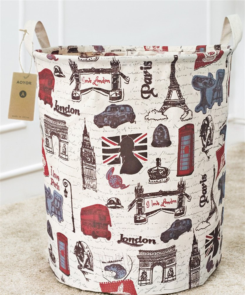Kids Laundry Canvas Basket Toy Storage Bin Fabric Nursery Hamper Large Laundry with Handle,Collapsible & Convenient (Paris)