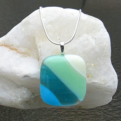 Ocean Beach Glass Pendant Fused Glass Necklace Turquoise Blue Sea Glass Necklace Ocean Waves