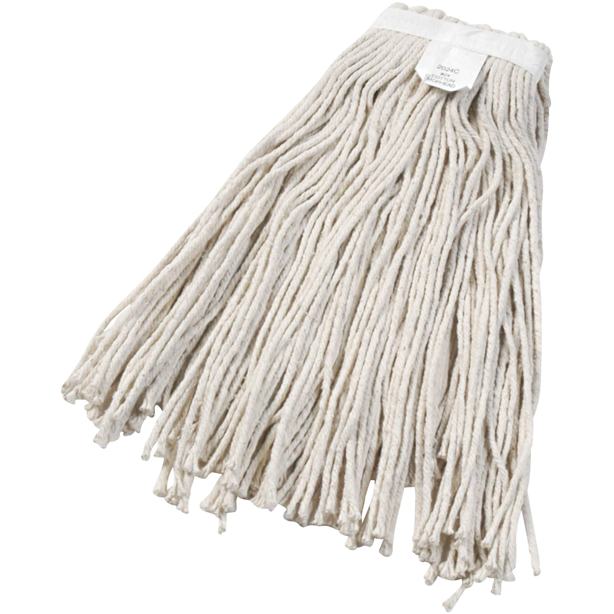 Cut-End Wet Mop Head, Cotton, White, 12/Case