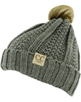 Hatsandscarf CC Exclusives Unisex Solid Ribbed Beanie With Pom (HAT-43)