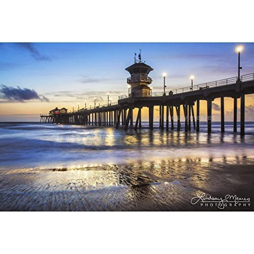 Amazon Com Huntington Beach Photo Pier At Dusk By Travlin Photography Multiple Sizes 8x10 To 24x36 Handmade