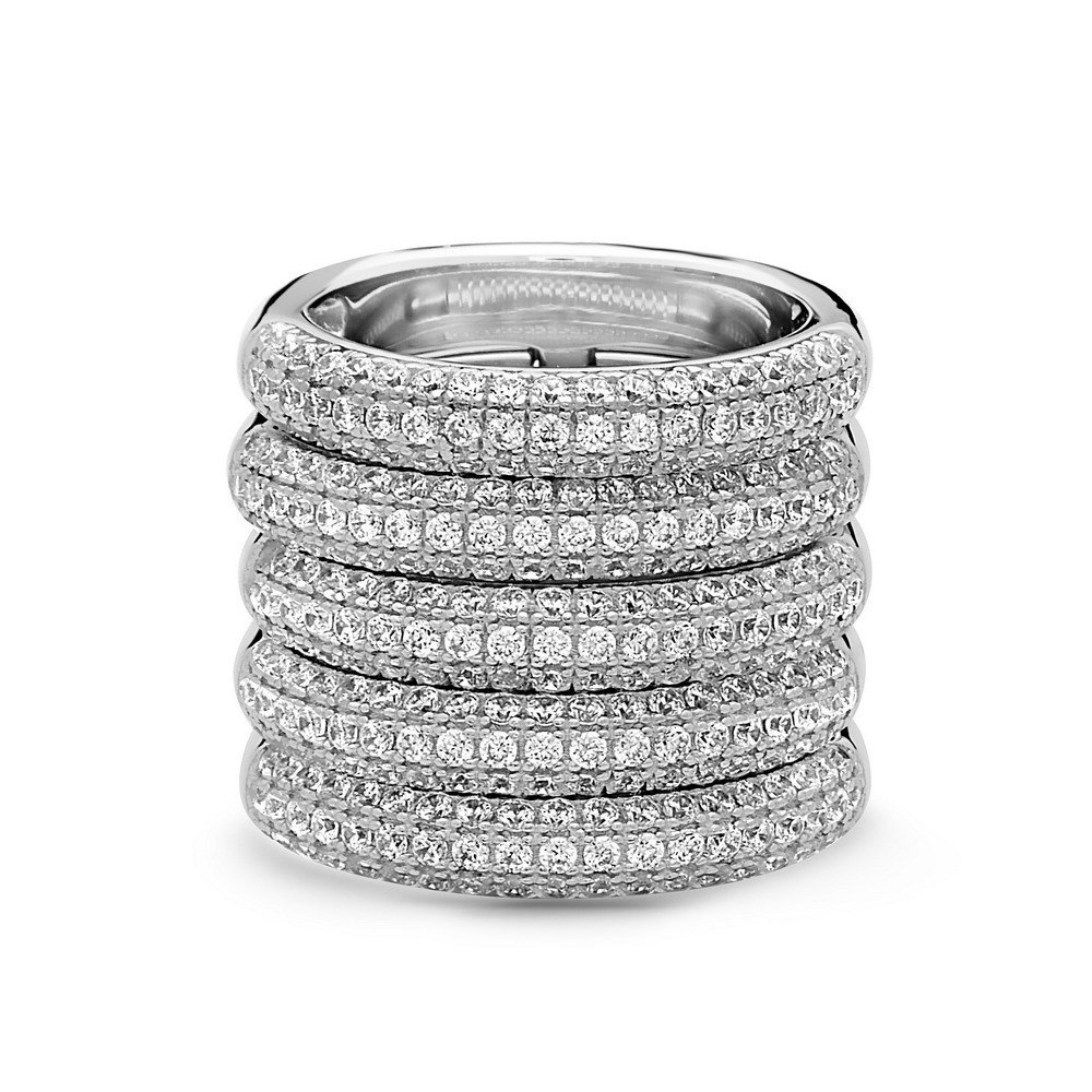 Interlocked Crystal Pave Five Band Ring | 925 Sterling Silver Stacked Five Row Pave Ring | Silver Stackable Crystal Fashion Band Ring | White-Tone Sizes 6, 7, and 8 |.JACQUELINE by Crush + Fancy