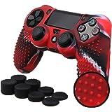 Pandaren® BORCHIE silicone custodie cover pelle antiscivolo per PS4 controller x 1 (camuffamento rosso) + FPS PRO thumb grips pollice prese x 8