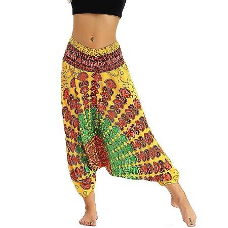 XIANGDONG Harem de Mujeres Hippie Pantalones Holgados ...