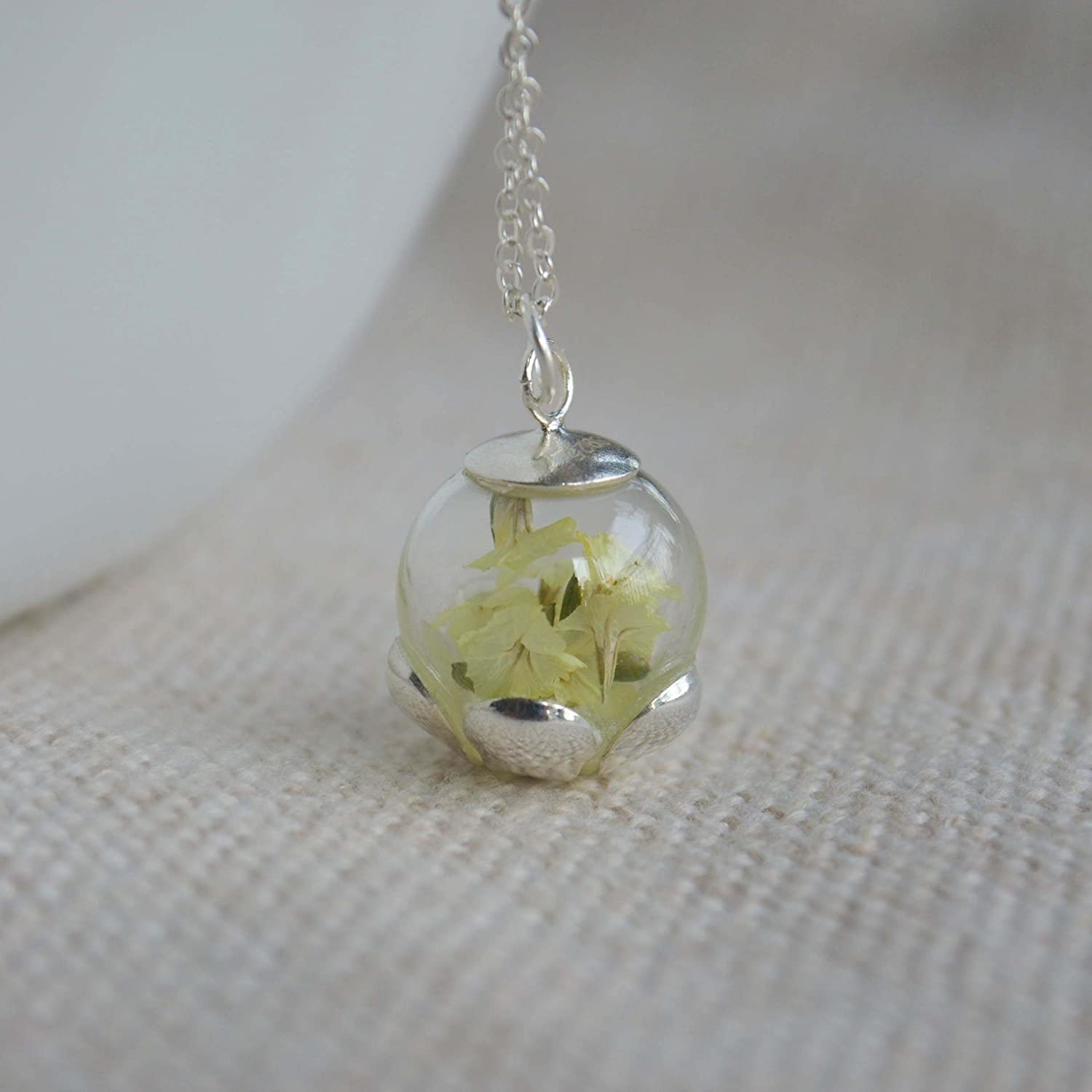 Limonium Real Flower Luminous Glow In The Dark 925 Sterling Silver Necklace 17.7 Length