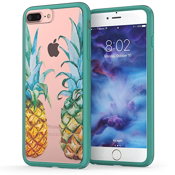 huge selection of 9f619 ed0ae True Color Case Compatible with iPhone 7 Plus Case, iPhone 8 Plus Pineapple  Case, Tropical Pineapples Printed on Clear Hybrid Cover Hard +Soft Slim ...