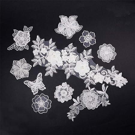 Pack Of 10 Vintage Venise Lace Floral Appliques Colors