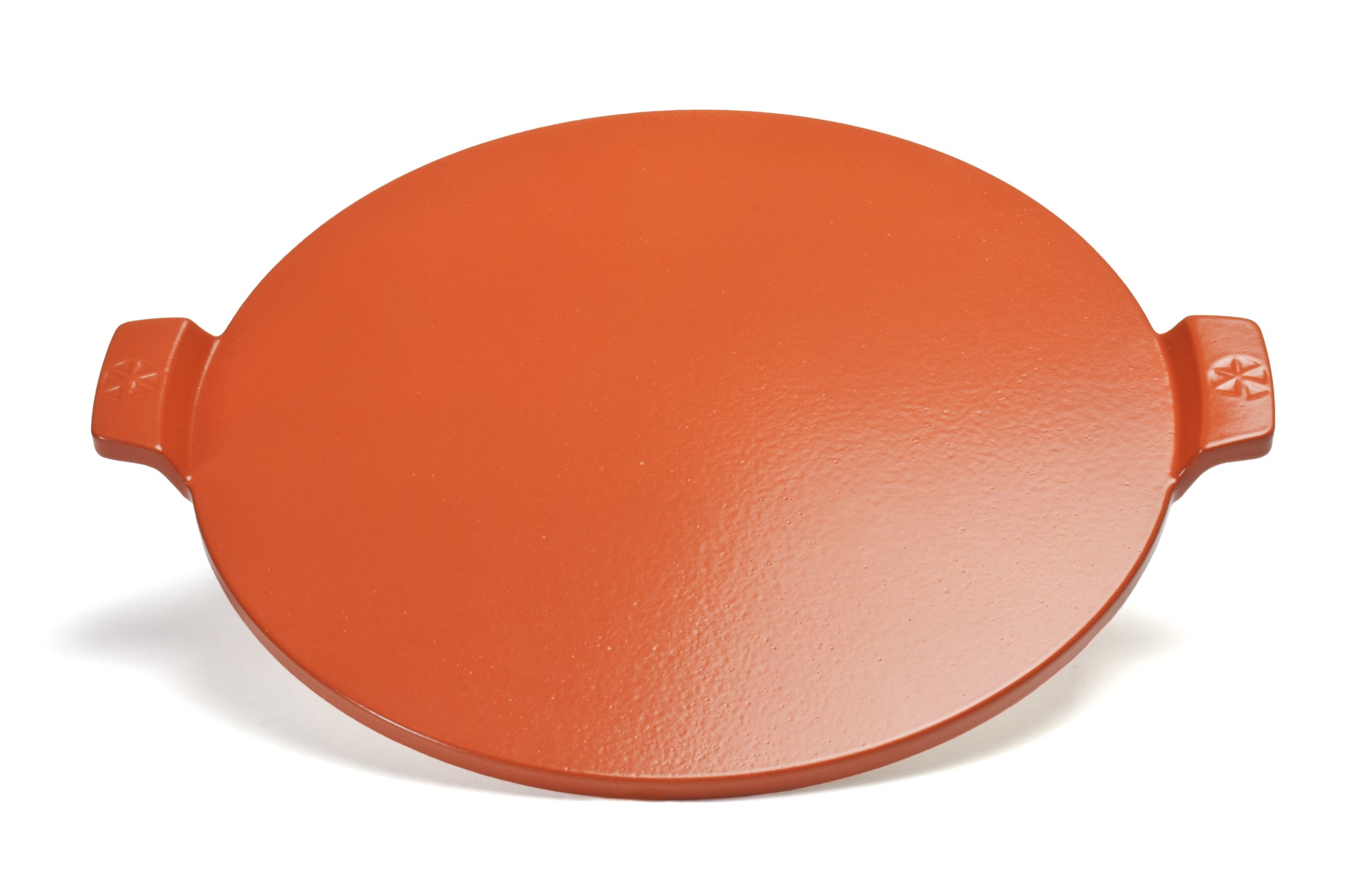 Pizzacraft 14.5'' Round Glazed Pizza Grilling Stone with Handles - PC0109 (Orange)
