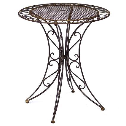 Gartentisch Eisen.Aubaho Gartentisch Eisen Schmiedeeisen Tisch Bistrotisch Gartenmöbel Antik Stil Braun
