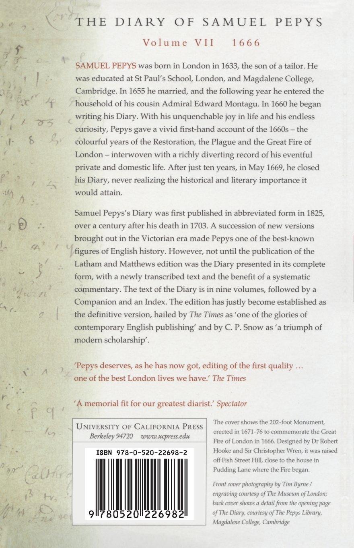 Amazon.com: The Diary of Samuel Pepys, Vol. 7: 1666 (9780520226982): Samuel  Pepys, Robert Latham, William Matthews: Books