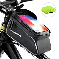 "SHENKEY Bike Bag, Bike Frame Bag Waterproof Touch Screen Bicycle Handbar Front Bike Phone Bag With Sun Visor for Below 6.2"" Phone"