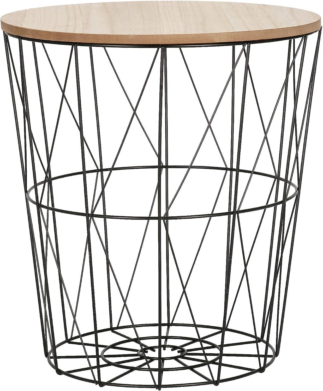 SPRINGOS Mesa de mimbre con tapa, mesa auxiliar, dimensiones: 35 x 30 cm (alto x ancho), redonda, industrial, color negro y natural, 35 x 30 x 30 cm