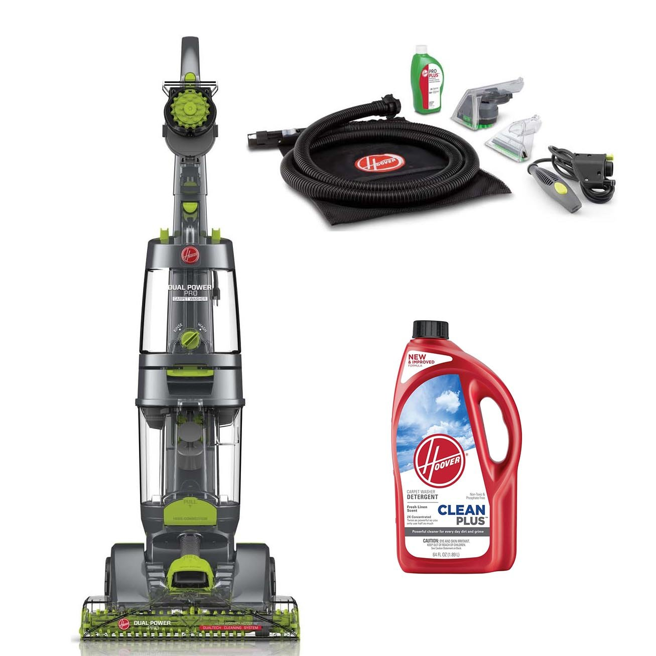 Hoover Dual Power Pro Carpet Cleaner w/Accessory Pack & Clean Plus 2x Solution