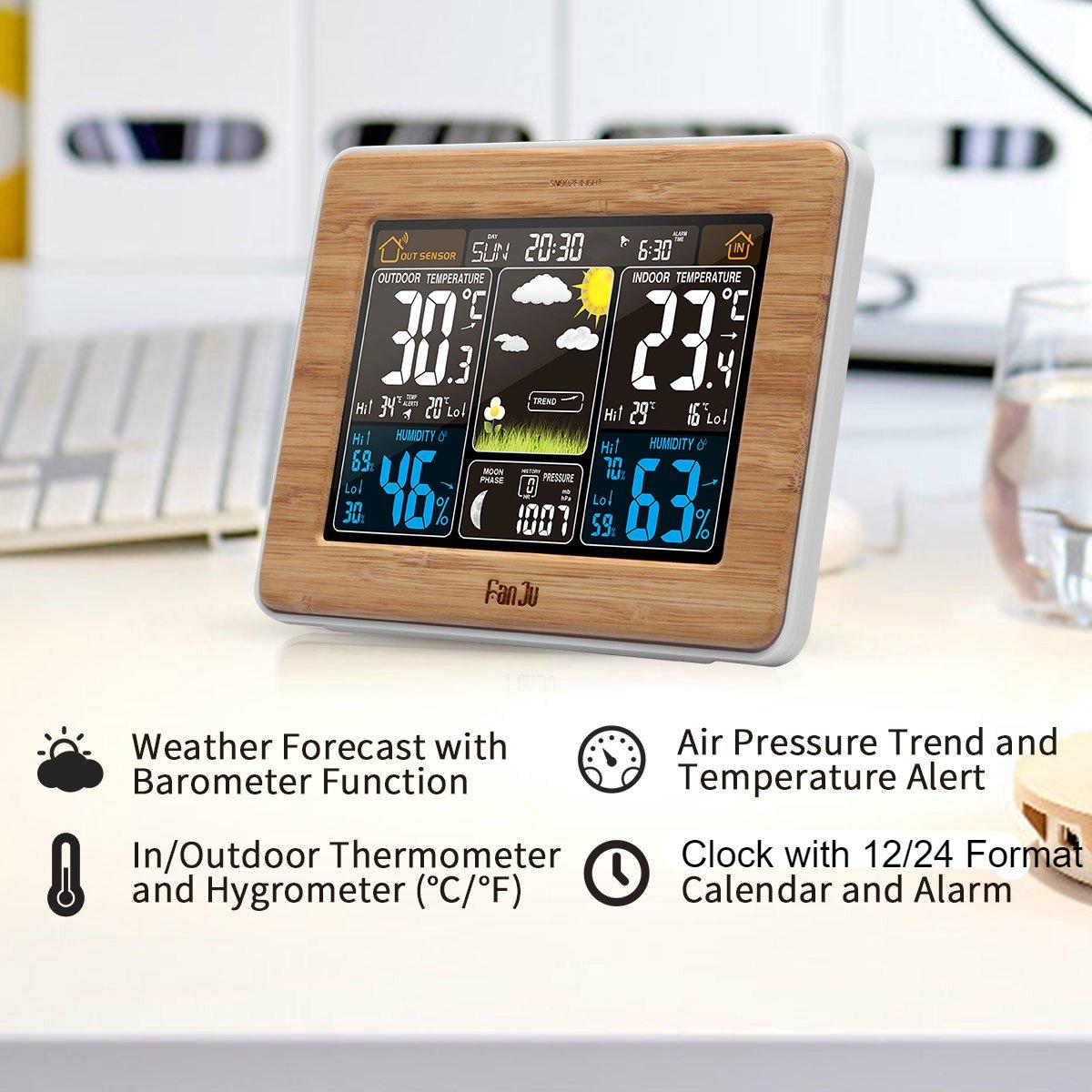 FanJu fj3365 Wireless Color estación meteorológica con Alerta y Temperatura/Humedad/barómetro/Alarma/Fase de la Luna/Atomic Reloj con Sensor Exterior: ...