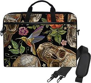 WIHVE Embroidery Gothic Skull Red Roses Flamingo Unisex Laptop Sleeve Messenger Shoulder Bag for 14-13 Inch Computer