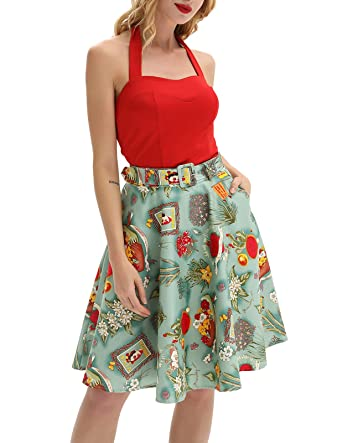 fc44e35fc21ce Belle Poque Women's Vintage A-line Skirt High Waist Floral Midi Skirts with  Belt BP839