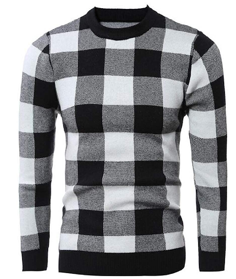 GenericMen Pullover Round Neck Knitted Slim Fit Plaid Print Jumper Sweater