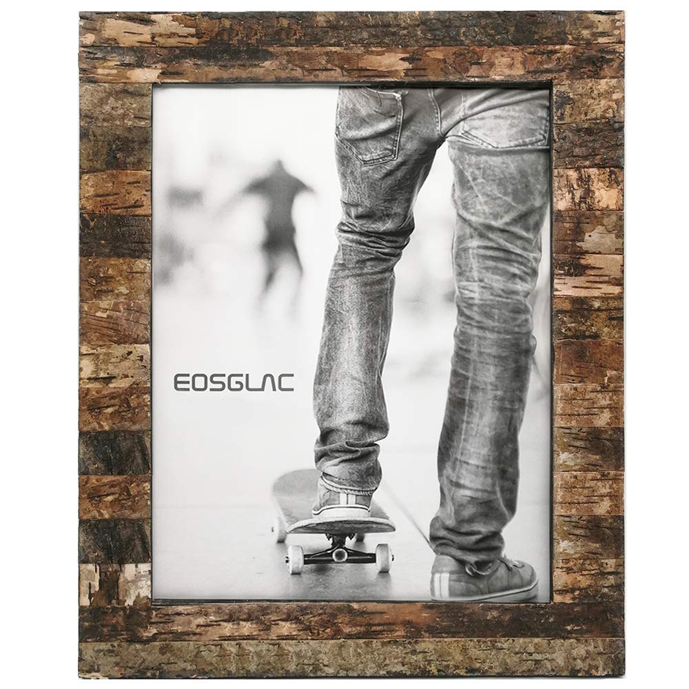 Eosglac Rustic 11x14 Wooden Picture Frame, Handcrafted with Real Birch Bark, Photo Frames Natural