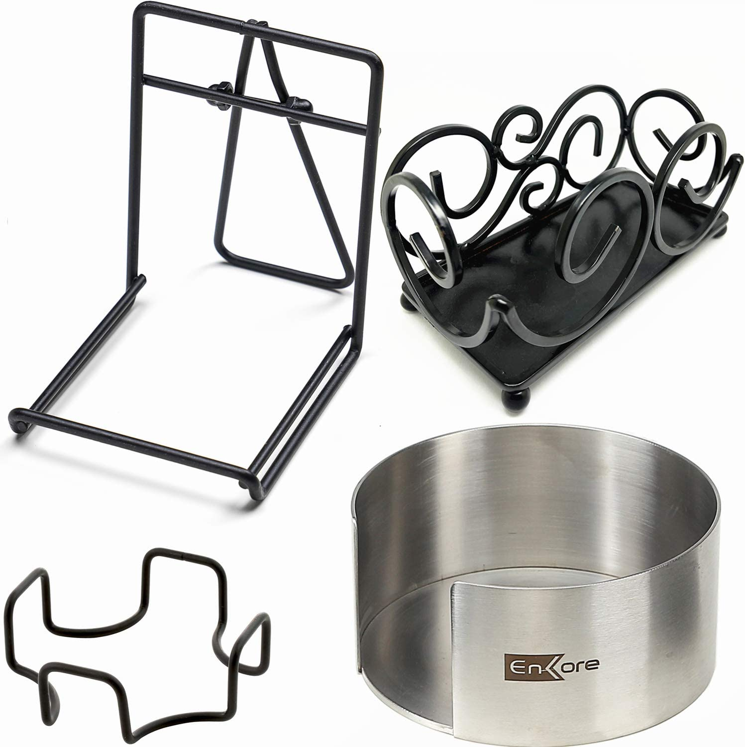 Coaster Stands & Holders Bundle - 2 Display stands PLUS 2 Holders (1 Square 1 Round) - All Designed to Fit ENKORE Coasters or Cup Mats Up to 4 1/4 Inch Size, Various Shapes For Round or Square Coaster