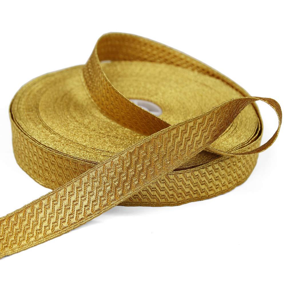 5 Yards of Morrow 1'' Geometric Bullion Braid Trim, Yellow Gold by Bias Bespoke