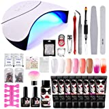 Morovan Poly Nail Extension Gel Kit,with 8 Pcs 15ml Poly Nail Gel,36W LED UV Nail Dryer,Slip Solution,Basic Nail Art Tools Poly Extension Gel Nail Builder Gel Enhancement Kit Nails Art Manicure Set