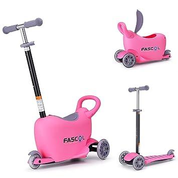 Fascol Multifunción 3 en 1 Patinete de 3 Ruedas Niños Scooter para 1 a 10 Años