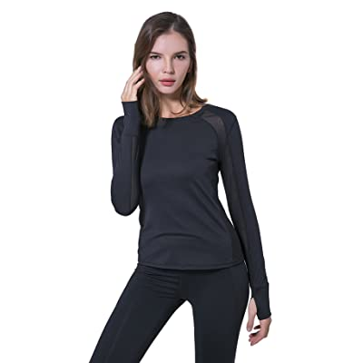 Bruce Sports Women's Workout Tee Tops Long Sleeve With Thumb Hole Yoga Running Gym Sports T-Shirt Mesh Tops Quick Dry
