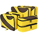 Amazon Brand: Eono Essentials 6 Set Packing Cubes,3 Various Sizes Travel Luggage Packing Organizers Yellow