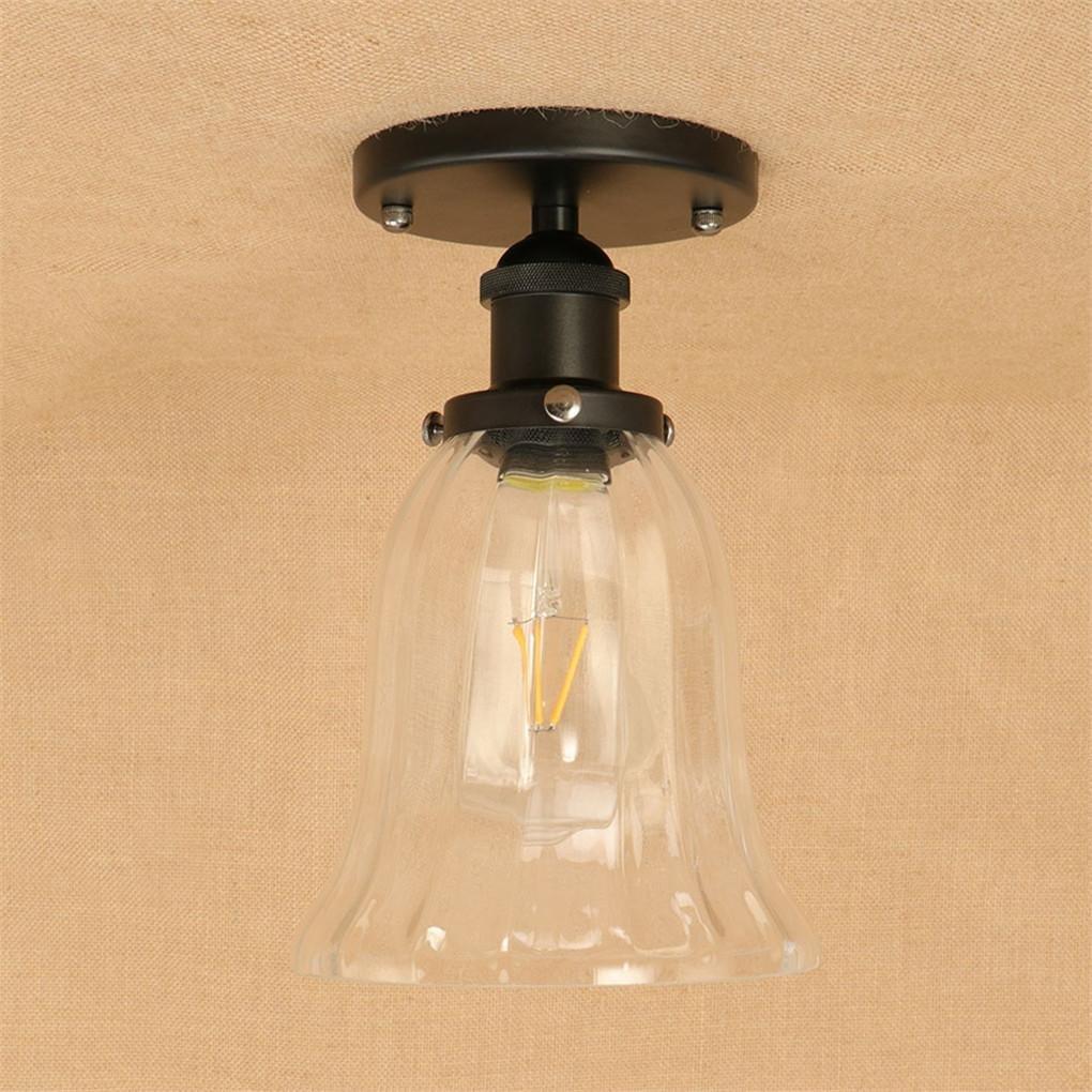 DENGPAOX Globe Electric Vintage Semi Flush Mount Anhänger Deckenleuchte mit Glas Lampenschirm, für Schlafzimmer und Küche E27 Lampe Sockel