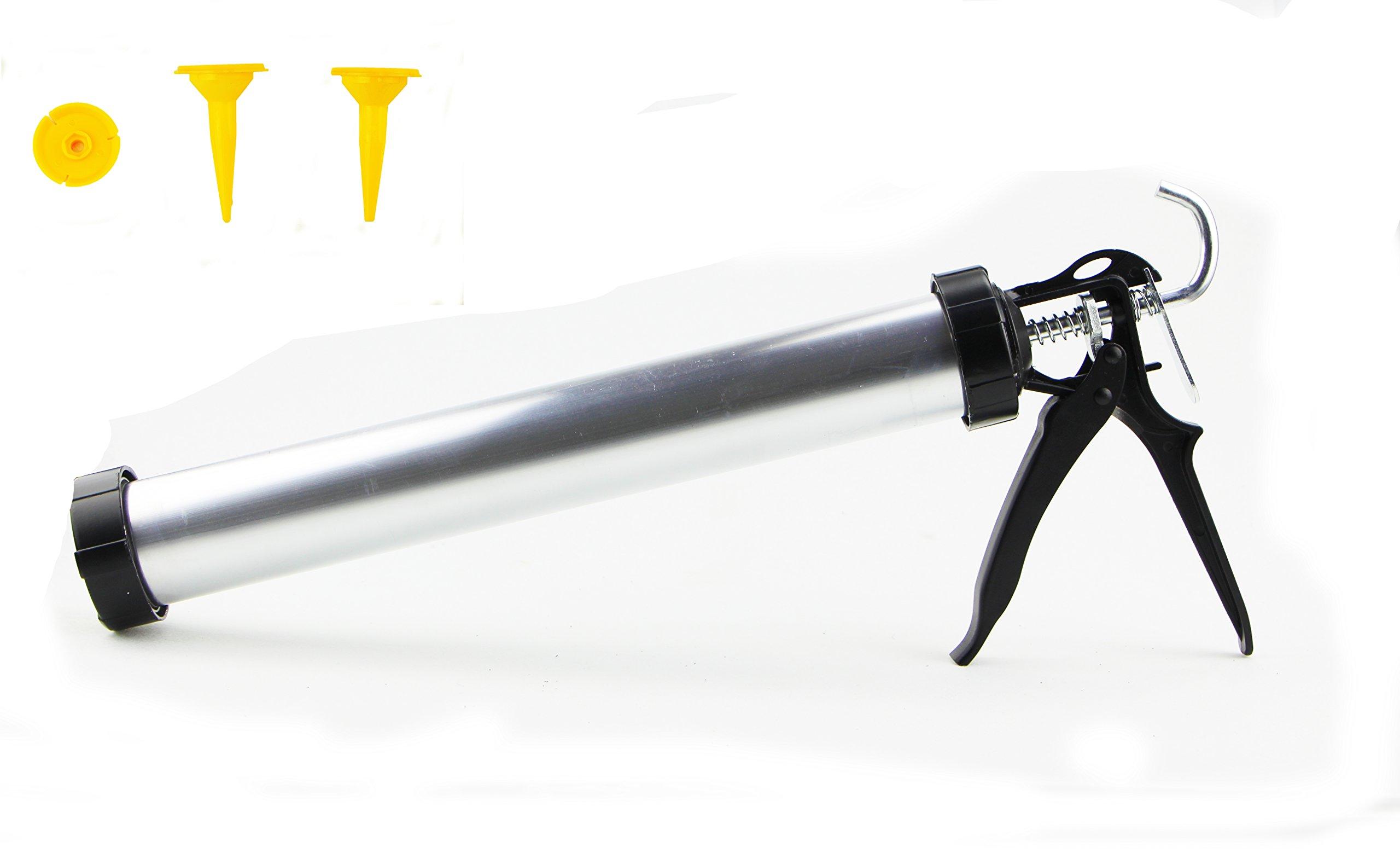 EcBy TECH 23 oz Manual Sausage Pack Caulking Gun,Caulking Gun with Aluminum Barrel,390mm 600ml Sausage rubber,24:1 Thrust Ratio for Decoration,Hardware Tools [Silver&Black]