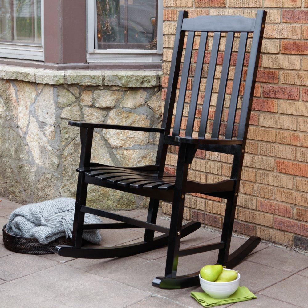 Garden Treasures Pinewood Outdoor Rocking Chair, Black