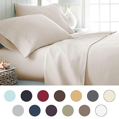 ienjoy Home Hotel Collection Luxury Soft Brushed Bed Sheet Set, Hypoallergenic, Deep Pocket, Queen, Cream