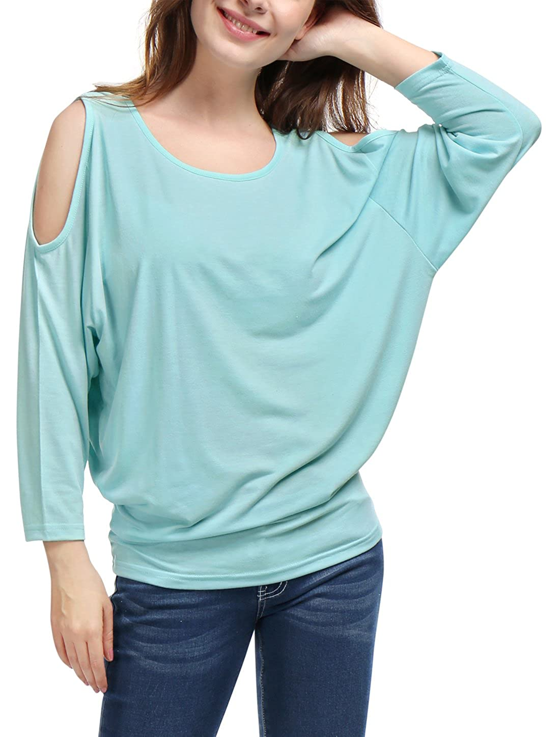 Allegra K Women's Scoop Neck Cut Out Shoulder Loose Batwing Top M Turquoise s18032400it6630