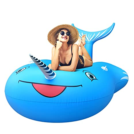FEMOR Flotador para Piscina de Whale Gigante Balsa Inflable Balsa Cama Flotante para Piscina Playa Aire