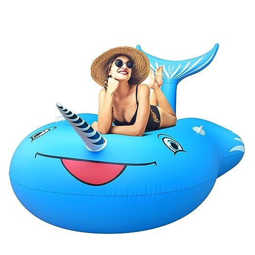 FEMOR Flotador para Piscina de Whale Gigante Balsa Inflable Balsa Cama Flotante para Piscina Playa Aire Libre Diversión para Niños y Adultos (280CM x 135CM ...