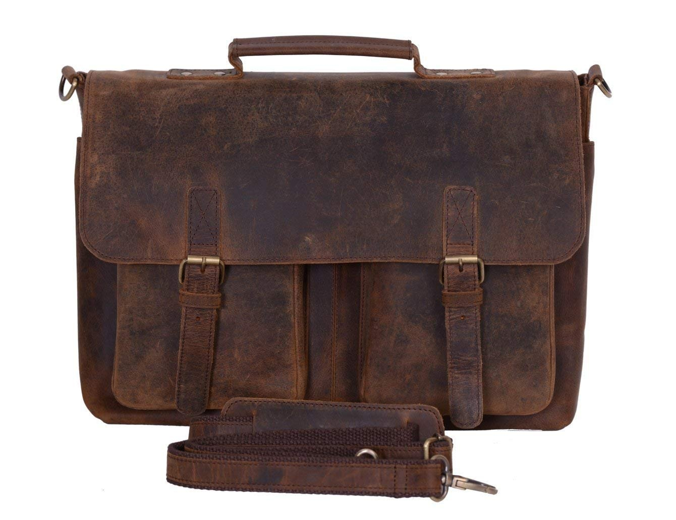 KomalC 18 Inch Retro Buffalo Hunter Leather Laptop Messenger Bag Office  Briefcase College Bag for Men and Women  Amazon.co.uk  Computers    Accessories 6b2f85bf6c851