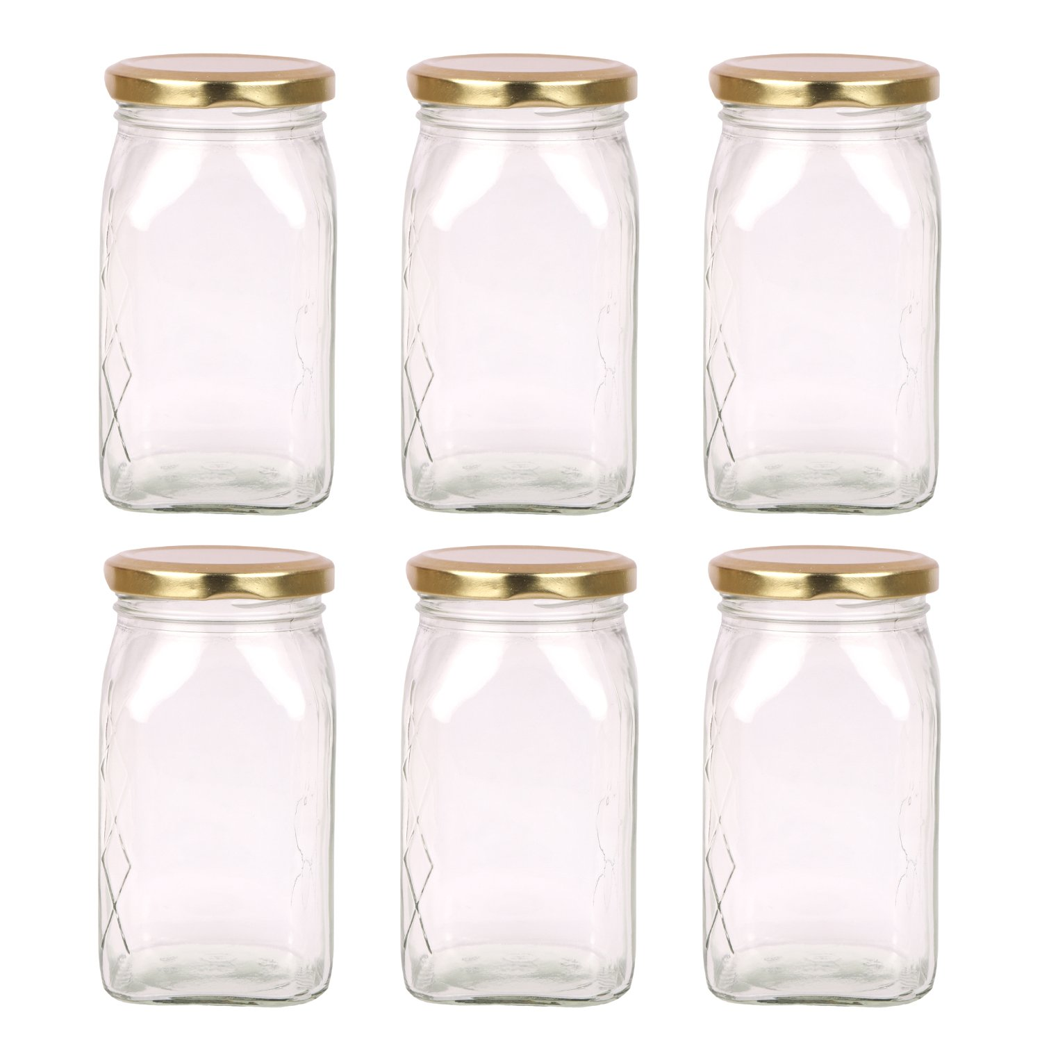 The Retailer House Glass Jar 250 Gram Capacity With Metal Gold Color Rust Proof Air Tight Cap,(Set Of 6 Pcs )